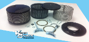 """Old School"" Style Black/Stainless Powder Coated Air Cleaner Kit"