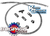 BUGPACK Stainless Braided Kadron Fuel Line Kit w Red/Blue Ftngs