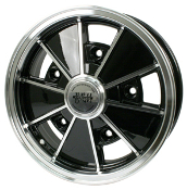 "EMPI BRM Wheel, 5-Lug, 5x205 Gloss Black, Polished Lip 5"" Wide"