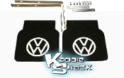 Restoration Quality VW Logo Mud Flaps w/ Brackets, Black