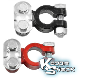Battery Terminals, Pair, Red/Black, Clamp On Style