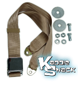 Tan Seat Belt, 2-point, Airplane Latch Style, w/ Mounting Hdwe