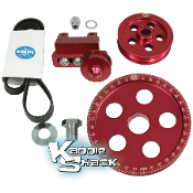 Serpentine Belt and Pulley System, Billet Aluminum, Red