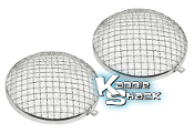 Stone Guards for Late Headlights, Stainless Steel, Pair