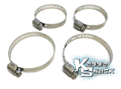 Hose Clamp Kit for Dual Port Intake Boots, Stainless, USA, Set/4