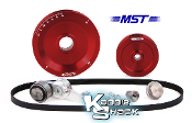 MST Original Solid Serpentine Belt Pulley System, Red Anodized
