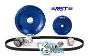 MST Original Solid Serpentine Belt Pulley System, Blue Anodized
