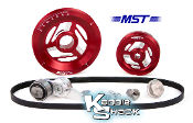 MST Raptor Serpentine Belt Pulley System, Red Anodized