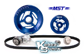 MST Raptor Serpentine Belt Pulley System, Blue Anodized