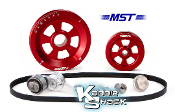 MST Renegade Serpentine Belt Pulley System, Red Anodized