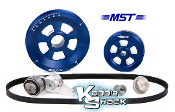 MST Renegade Serpentine Belt Pulley System, Blue Anodized