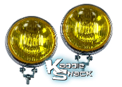 Vintage Style Fog Lights, 8mm Mount, 110mm Light, Amber, Pair