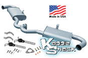 KSR Dual Quiet Pack Mufflers f/ Merged Headers, Made in USA, Raw