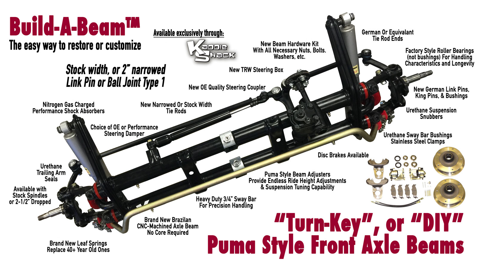 Build-A-Beam™ Link Pin Front Puma Style Adjustable Axle Beam